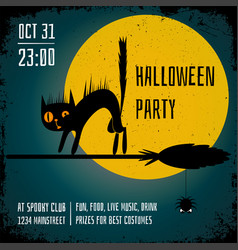 halloween party poster editable banner design vector image vector image