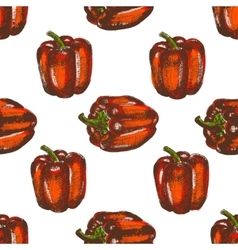 Hand drawn seamless of bell peppers vector image