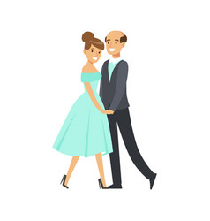 Happy couple dancing ballroom dance colorful vector