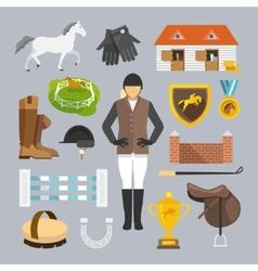 Jockey icons flat vector
