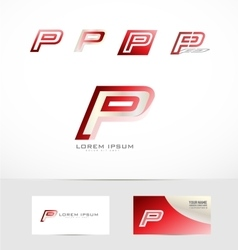 Letter p red logo icon vector