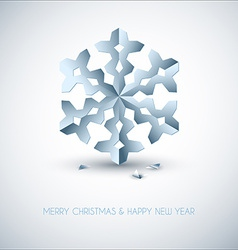 Light blue paper christmas snowflake vector