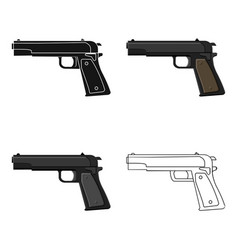 Military handgun icon in cartoon style isolated on vector