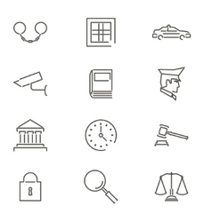 Modern line law legal justice icons and symbols vector