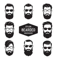 set of various bearded men faces vector image vector image