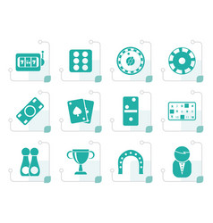 Stylized gambling and casino icons vector