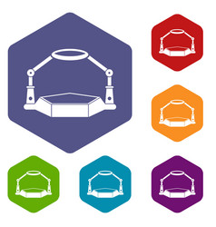 Table magnify icons set hexagon vector