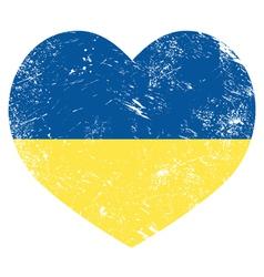 Ukraine retro heart flag - vector image