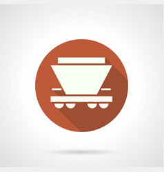 Wagon for bulk freights orange round icon vector