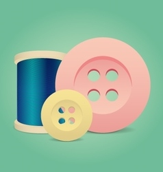 Thread spool and buttons sewing accessories vector