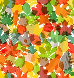 Different color autumn leaves seamless pattern vector image