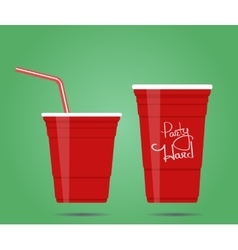 Two red party cups vector