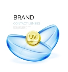 Eye contacts lenses ad template vector