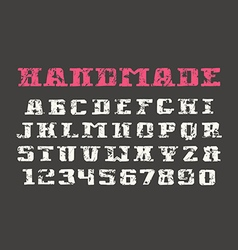 Serif font and numerals in the style of hand drawn vector image