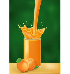 Splash of apricot juice on green background vector