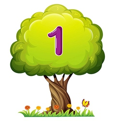 A tree with a number one figure vector image