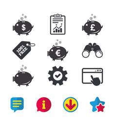 Piggy bank icons dollar euro pound moneybox vector
