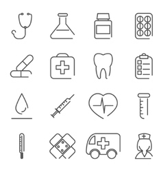Modern line medical treatment icons and symbols vector