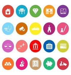 Insurance related flat icons on white background vector