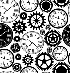 Clocks seamless pattern black and white texture of vector