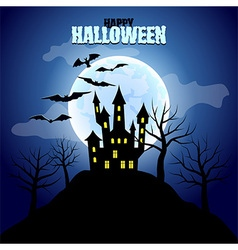 Forest with castle and moon halloween background vector