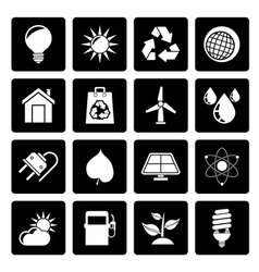 Black ecology nature and environment icons vector