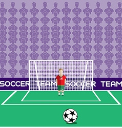 Goalkeeper in flat style standing in a goal vector