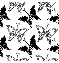 Pattern with closeup butterflies vector