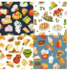 big seamless pattern set with different worldwide vector image vector image