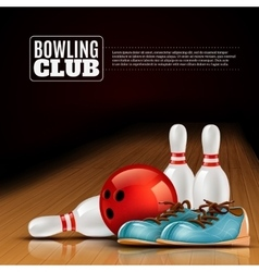 Bowling league indoor club poster vector