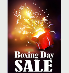 boxing day background with open red box vector image vector image