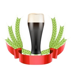 Brewery label with dark beer glass and green malt vector