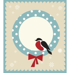 bullfinch bird christmas card template vector image vector image