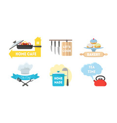 Cartoon kitchen labels set vector