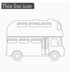 Double decker bus icon style thin line vector