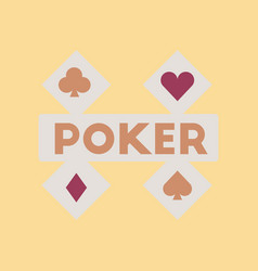 flat icon on stylish background logotype poker vector image vector image