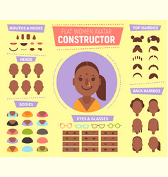 flat women avatar constructor for generating vector image vector image