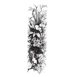 Flowers in tree in this design vintage engraving vector