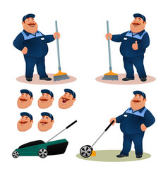 funny cartoon janitor set with emotions vector image