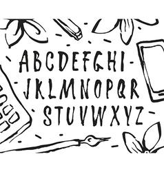 handwritten brush font vector image vector image