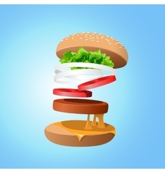 Ingredients hamburger ejected from the packaging vector