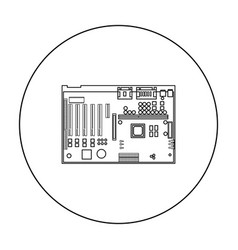 Motherboard icon in outline style isolated on vector