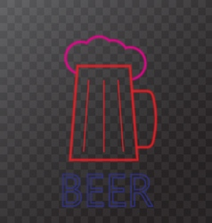 Mug of beer neon lights vector
