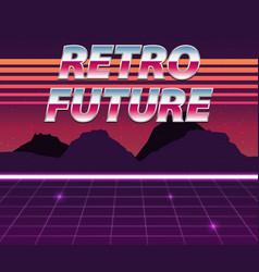 retro future 80s style sci-fi background vector image