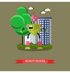Robot model flat design vector