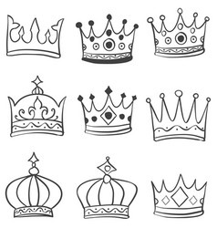 Set of crown various hand draw vector