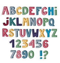set of cute colored letters and numbers with 3d vector image vector image
