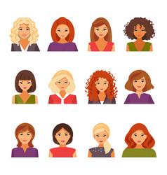 Set of female avatars vector
