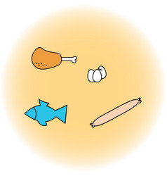 set of food ham sausage eggs fish vector image vector image
