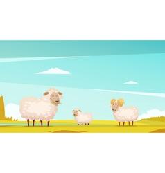 Sheep grazing on farmland cartoon poster vector
